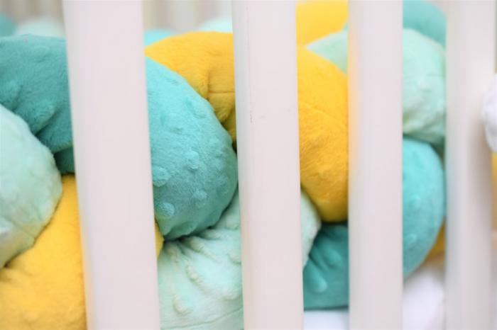 Aparatori impletite plus minky verde menta turquoise si galben [3]