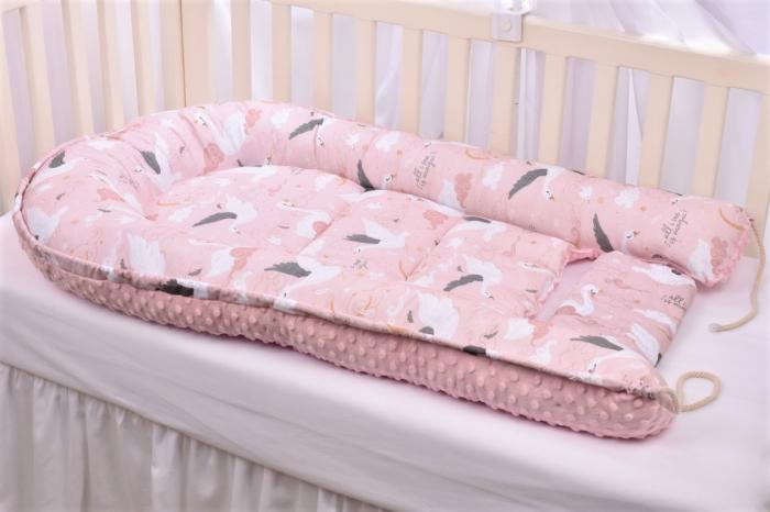 Babynest model lebede si plus minky roz pal [4]