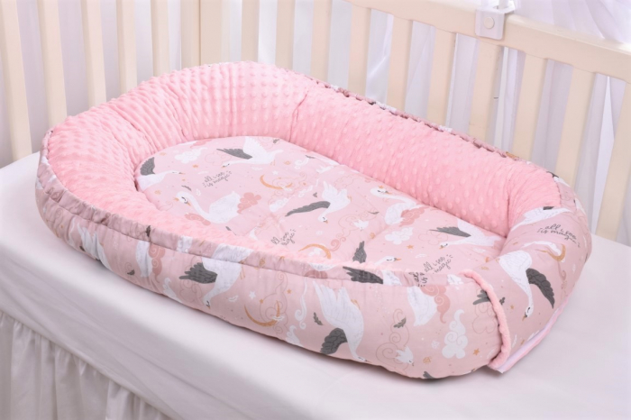 Babynest model lebede si plus minky roz pal [1]