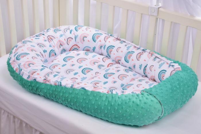 Babynest model curcubee si minky turquoise [0]
