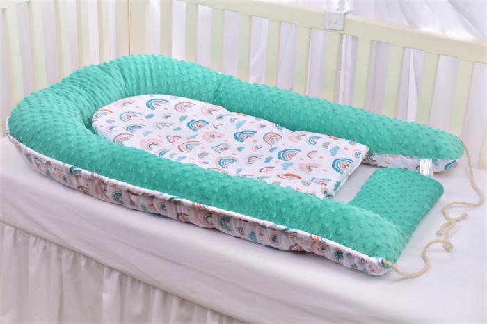 Babynest model curcubee si minky turquoise [3]