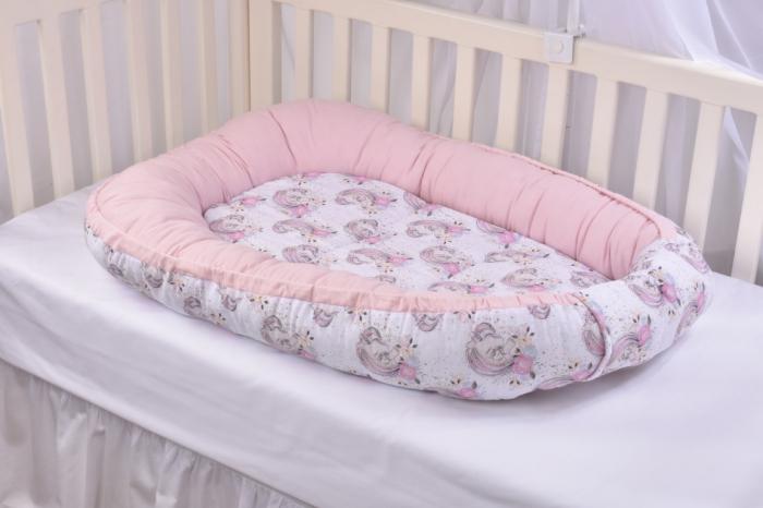 Set 3 piese babynest, paturica si pernuta model unicorni si roz [5]