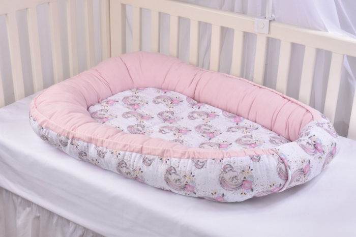 Set 3 piese babynest, paturica si pernuta model unicorni si roz [7]