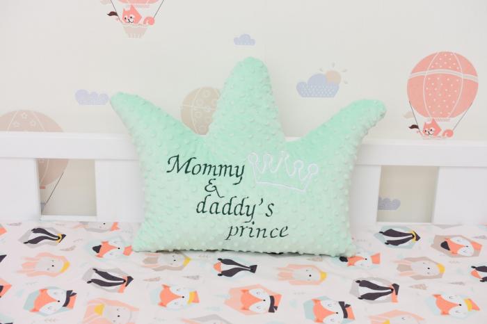 "Coronita plus minky verde menta ""Mommy&daddy's prince"" 0"