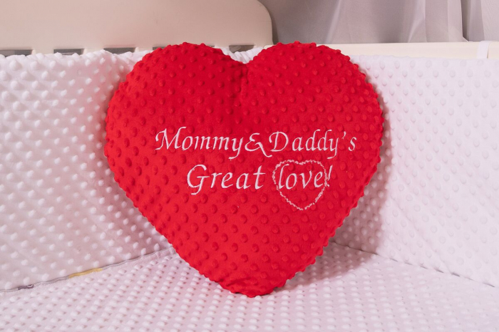 """Inima plus minky rosu personalizata """"Mommy&daddy's great love"""" 0"""