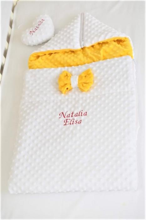 Paturica fermecata- paturica saculet gros plusat alb galben [2]