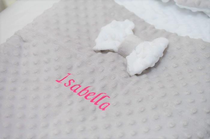 Paturica fermecata- paturica saculet gros plusat alb gri [4]