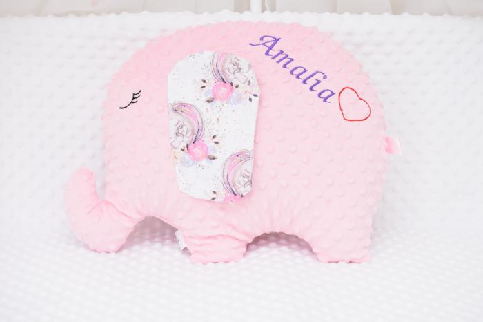 Pernuta decor elefantel plus minky roz [0]