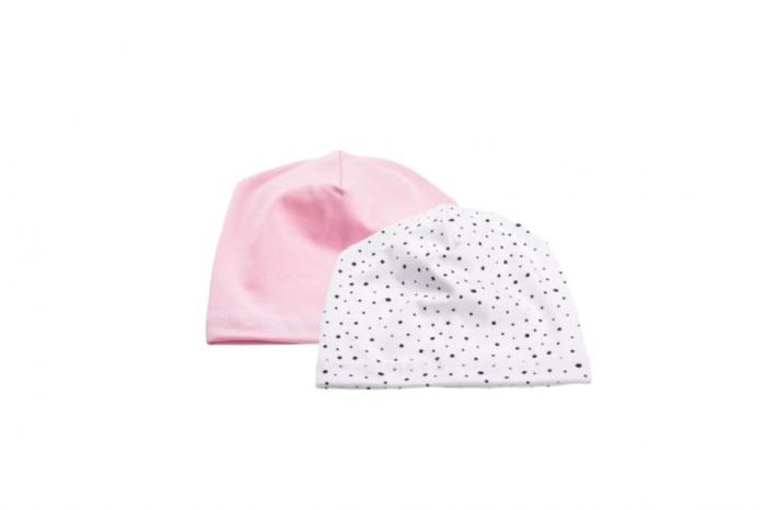 Set 2 caciulite bumbac organic  roz si alb cu bulinute [0]