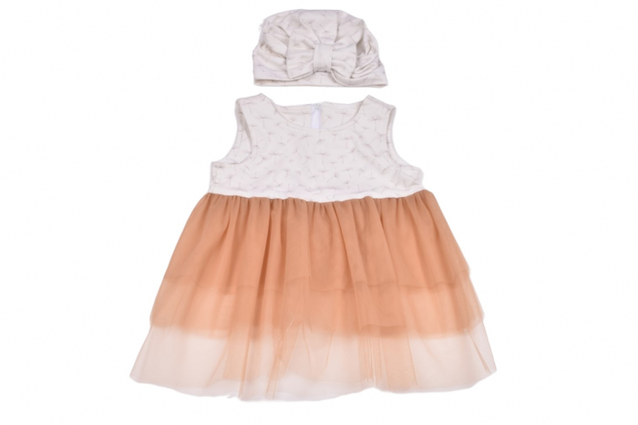 Set rochie si turban model papadii si tulle cappucino 0