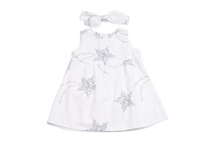 Set rochie si bentita model stelute pe fond alb [0]