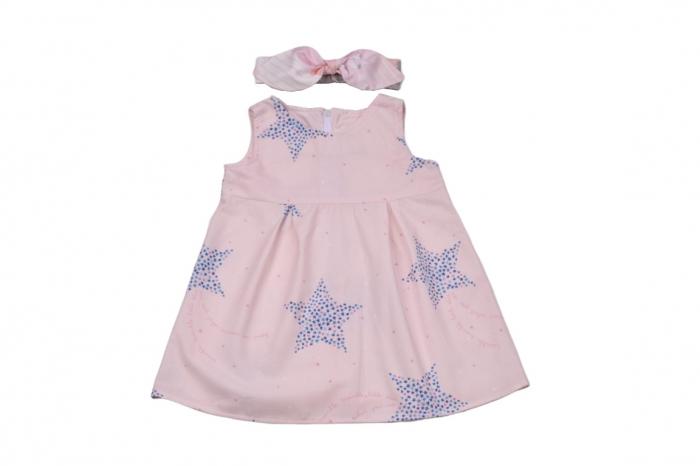 Set rochie si bentita model stelute pe fond roz [0]