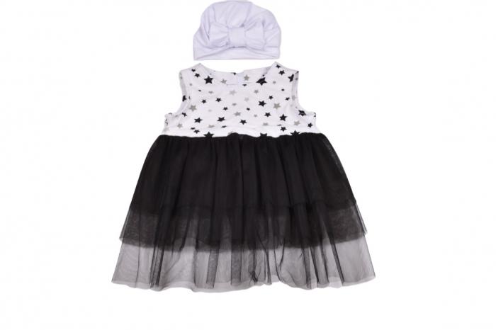 Set rochie si turban stelute si tulle negru [0]