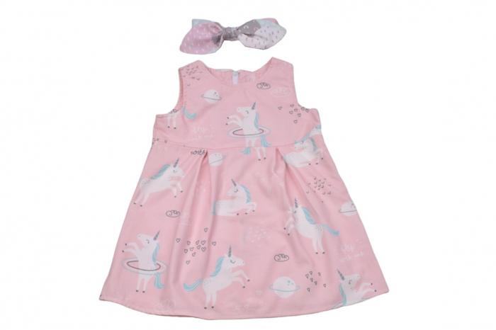 Set rochie si bentita model unicorni 0