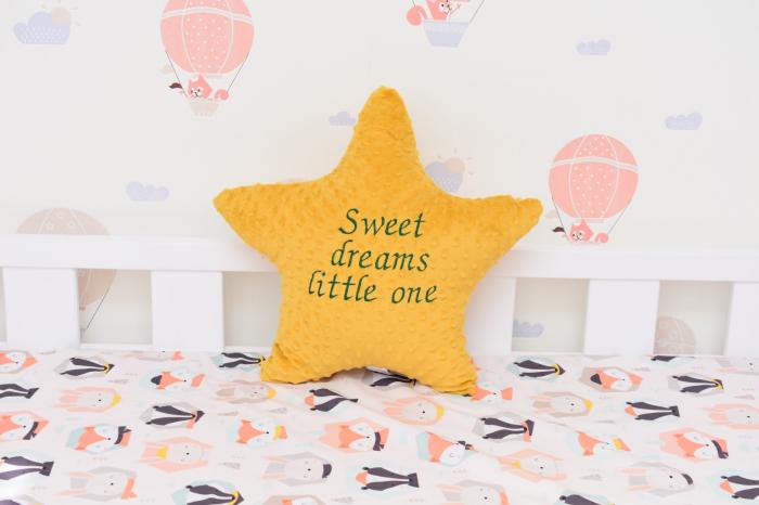 """Steluta plus minky galben mustar personalizata""""Sweet dreams little one"""" 0"""