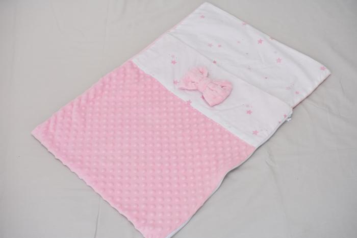 Paturica saculet  model stelute roz plus minky roz pal 0