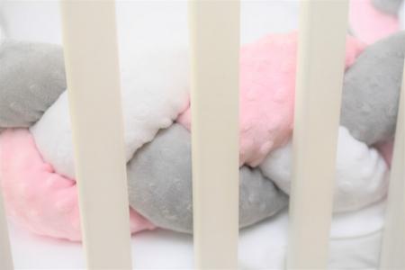 Aparatori impletite plus minky roz pal, alb, gri [3]