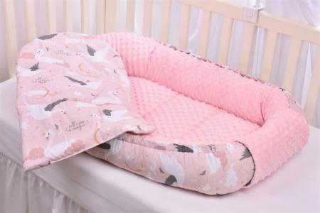 Babynest model lebede si plus minky roz pal [2]