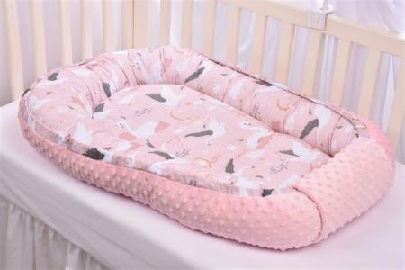 Babynest model lebede si plus minky roz pal [0]