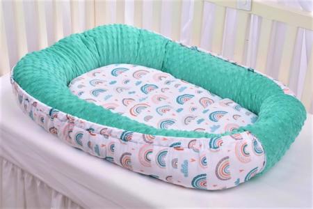 Babynest model curcubee si minky turquoise [1]