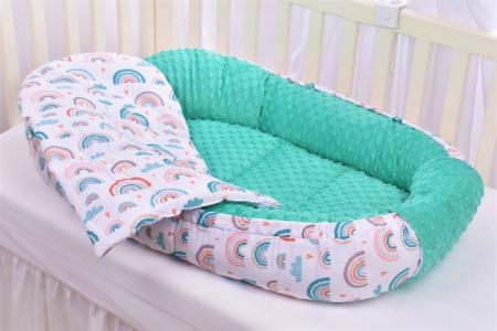 Babynest model curcubee si minky turquoise [2]