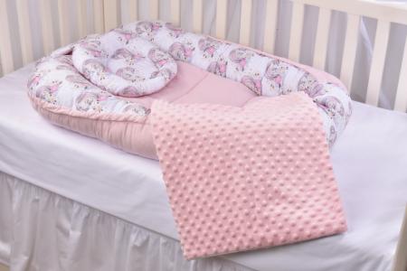 Set 3 piese babynest, paturica si pernuta model unicorni si roz [0]