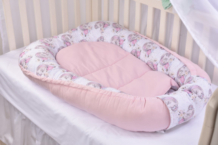 Set 3 piese babynest, paturica si pernuta model unicorni si roz [4]