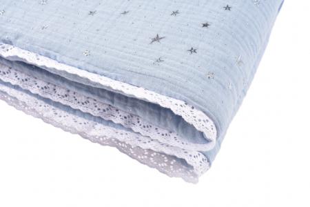 Paturica groasa muselina organica culoare bleu Stars [2]
