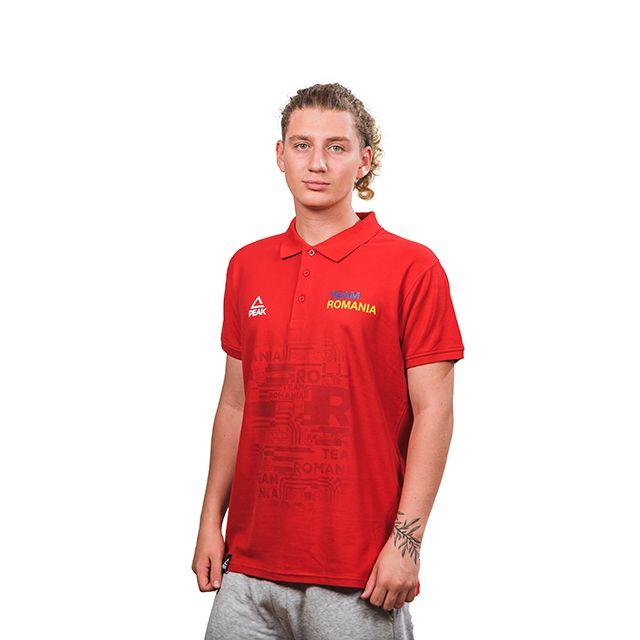 Tricou polo bumbac PEAK TeamRomania rosu barbati [1]