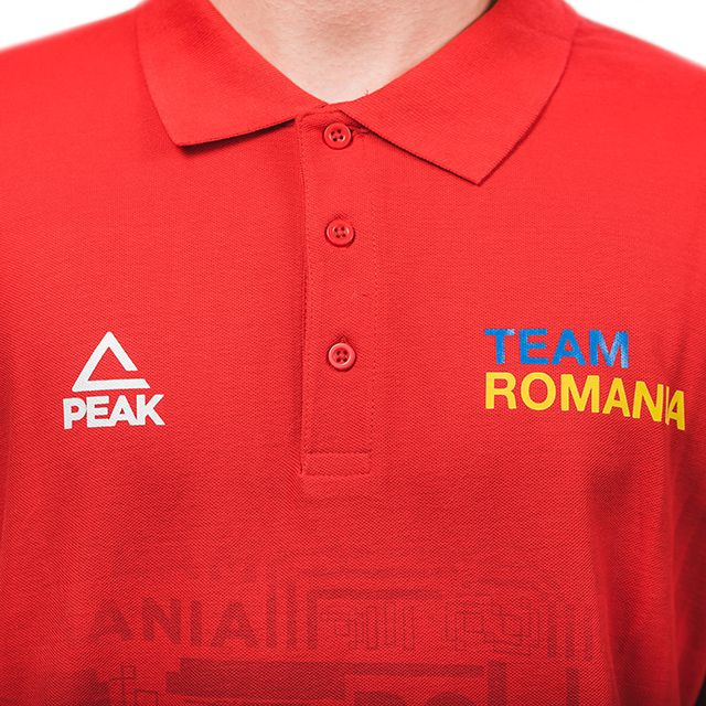 Tricou polo bumbac PEAK TeamRomania rosu barbati [3]