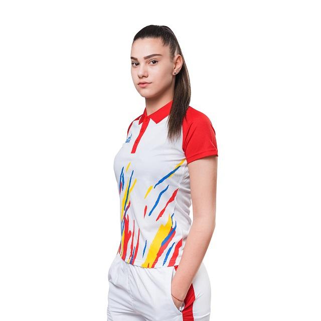 Tricou Polo Feminin PEAK TeamROmania19 alb/rosu [1]