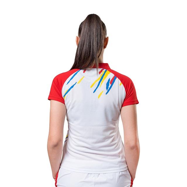 Tricou Polo Feminin PEAK TeamROmania19 alb/rosu [3]
