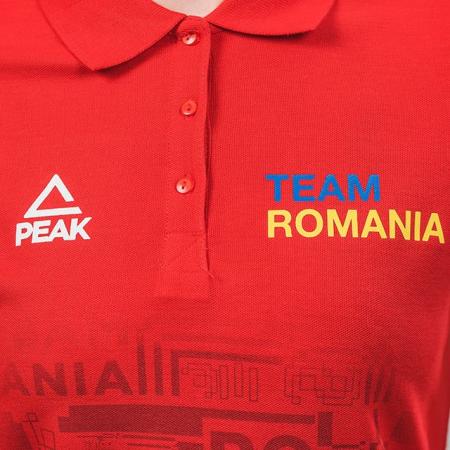 Tricou polo bumbac PEAK TeamRomania rosu femei [4]