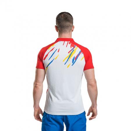 Tricou Polo Masculin PEAK TeamROmania19 alb/rosu [3]