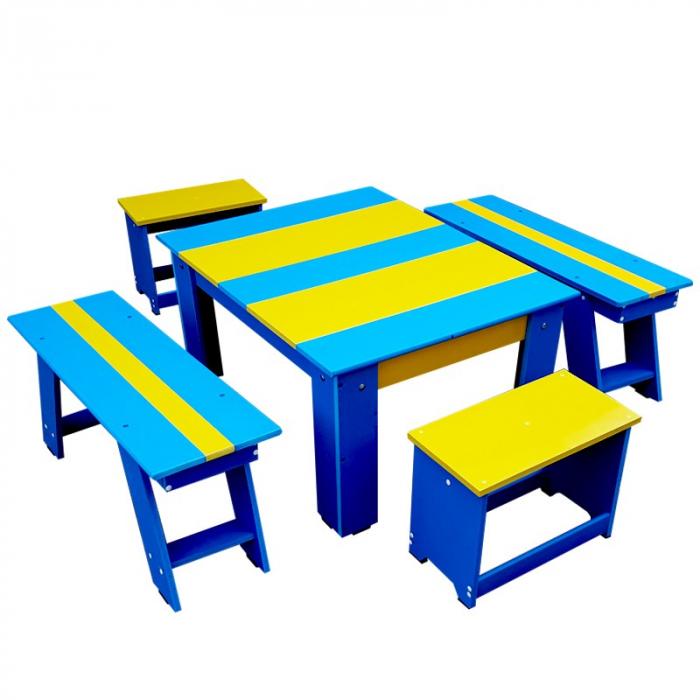 Set bicolor masuta cu scaunele si bancute pentru gradina [0]