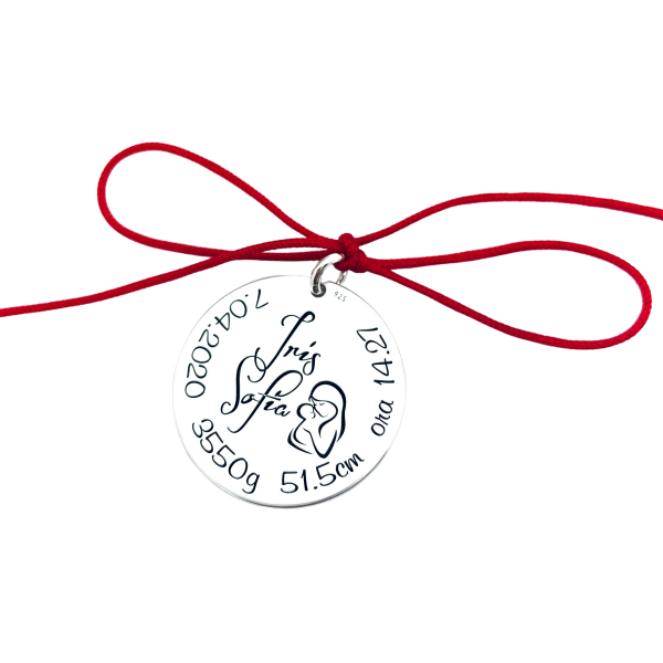 Banut argint personalizat mot sau botez un an nume simbol 1