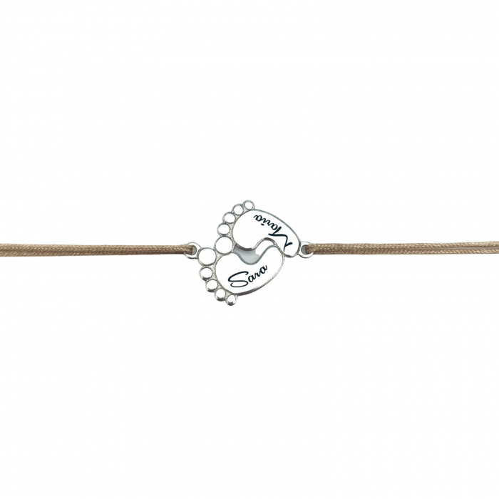Bratara argint personalizata snur reglabil Talpite Bebe Personally ME 0