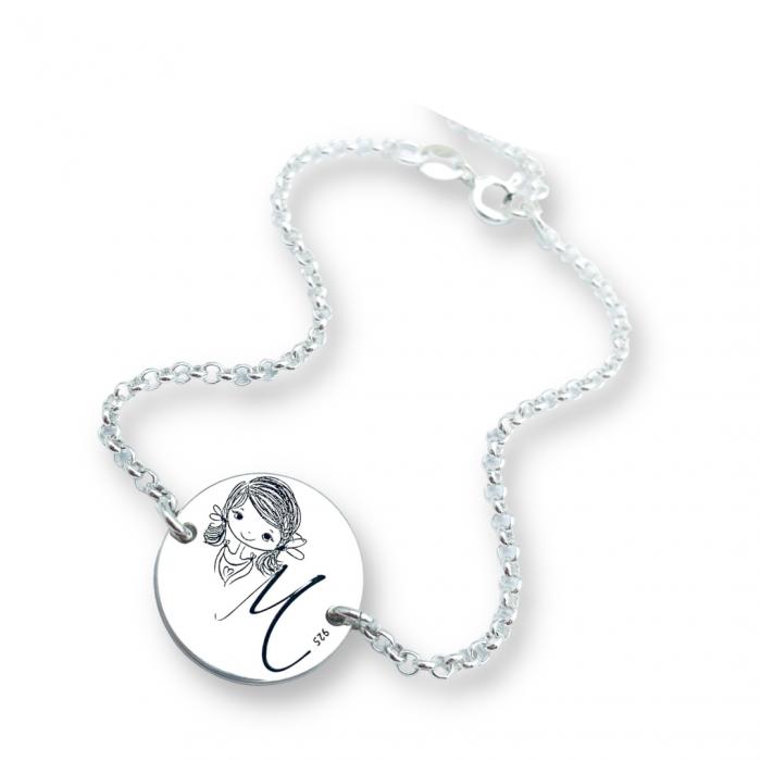 Bratara personalizata argint banut gravat Sister by heart cu Initiala - Cadou nunta cununie [0]