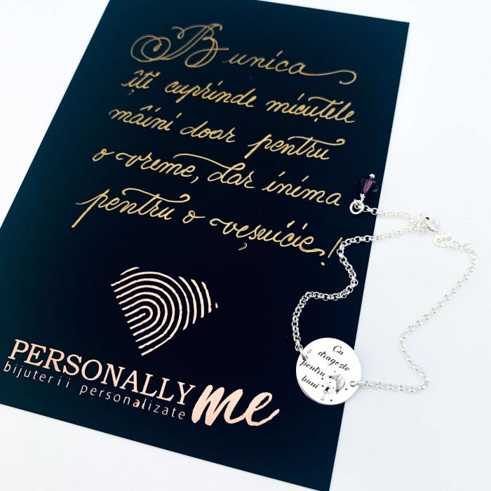 Bratara personalizata argint cu banut gravat pentru Bunica Personally ME 1