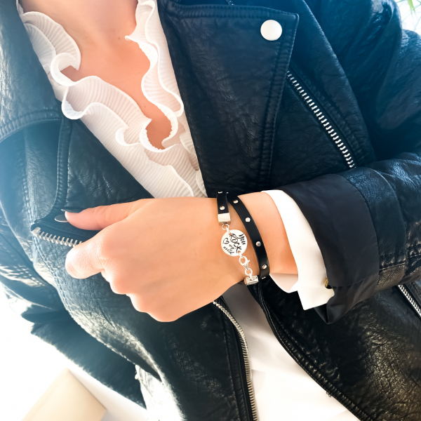 Bratara personalizata argint stil rock, snur plat piele naturala, de dama You Rock my World 2