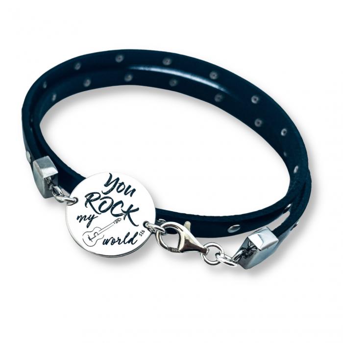 Bratara personalizata argint stil rock, snur piele, pentru barbati You Rock my World [0]