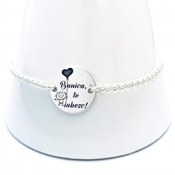 Bratara personalizata argint cu banut gravat pentru Bunica [1]