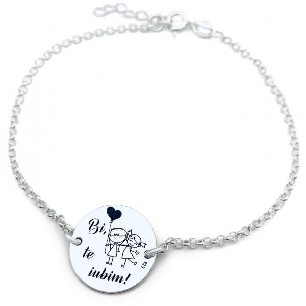 Bratara personalizata argint cu banut gravat Te iubim 0