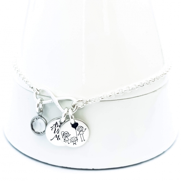 Bratara gravata argint dama cu charm Infinit 1