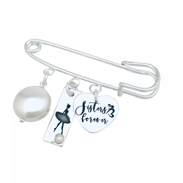 Brosa personalizata cu pandantive argint si perle Swarovski Ballerina 1