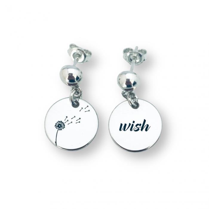 Cercei cu banut argint personalizati, Simbol Mesaj [0]