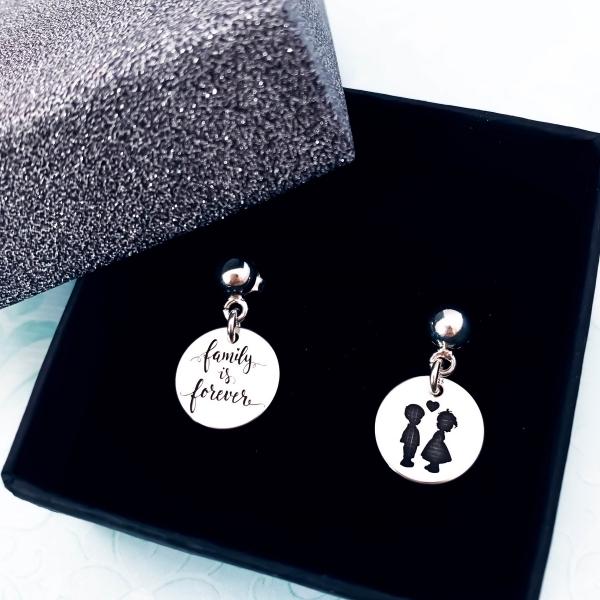 Cercei cu banut argint personalizati, Siluete Copii & Mesaje 2