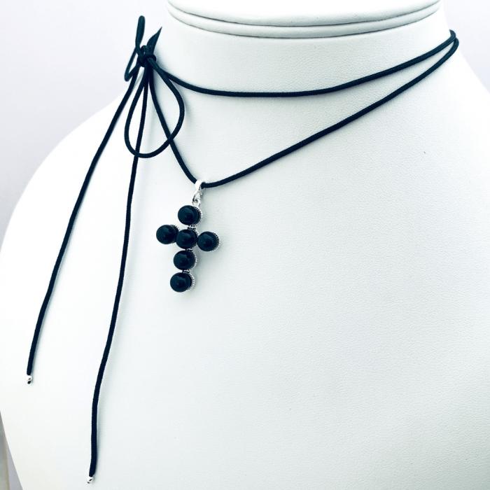 Choker pandantiv cruciulita argint cu perle - Personally ME [4]