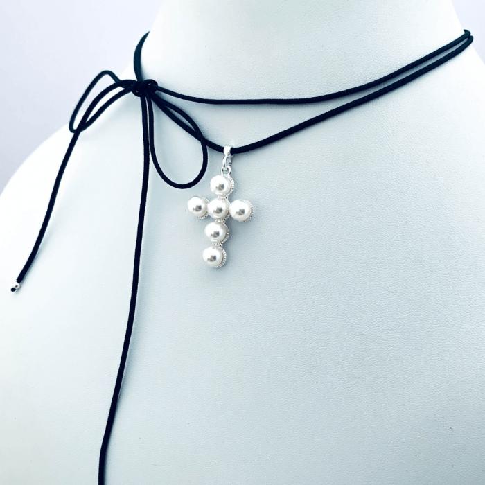 Choker pandantiv cruciulita argint cu perle - Personally ME [5]