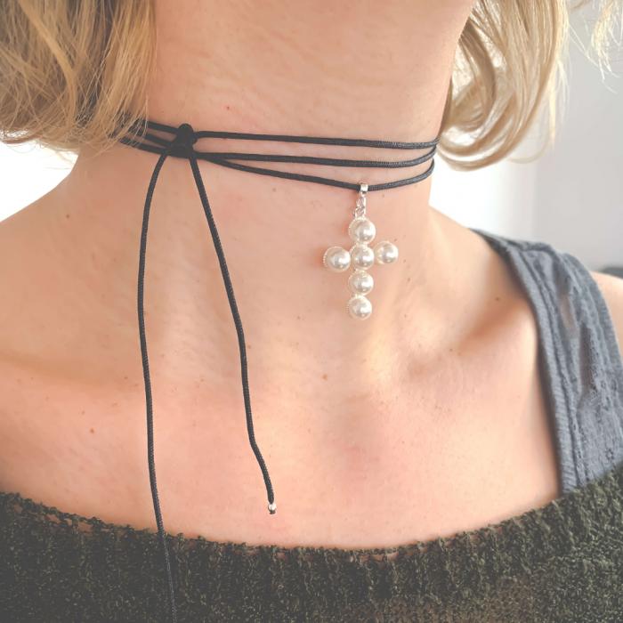Choker pandantiv cruciulita argint cu perle - Personally ME [3]